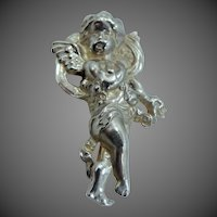 Old Sterling Silver Cherub Pin Angel Cupid