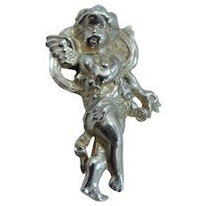 Old Sterling Silver Cherub Pin Angel Cupid