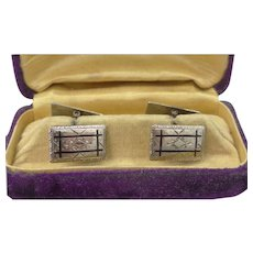 Pretty Art Deco White Gold Filled and Enamel Cuff Links