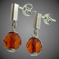 Sterling Silver & Natural Baltic Amber Dangle Earrings