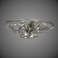 Art Deco Platinum Ring with 1.07tcw Diamond Solitaire Plus Side Diamonds