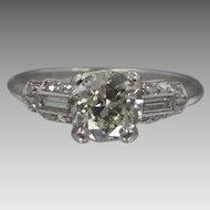 Art Deco Platinum Ring with 1.07tcw Diamond Solitaire Plus Side Diamonds