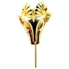 14k Solid Gold Ram's Head Pin