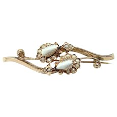 14k Gold & Seed Pearls Victorian Pin