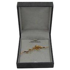 Krementz Gold Filled Squiggle Pin Mint in Original Box