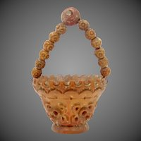 "Small Vegetable Ivory Carved Basket with Stanhope in the Handle ""View of Bethlehem"" French"