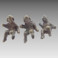 3 Antique Tiny Metal Doll House Baby Figurines