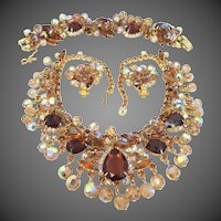 Book Piece Juliana Pear Topaz Colored Glass Stones Demi Parure Necklace, Bracelet & Earrings