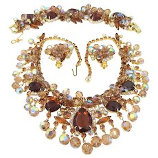 Book Piece Juliana Pear Topaz Colored Glass Stones Demi Parure Necklace, Bracelet & Earrings