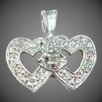 10k White Gold Diamond Double Hearts Pendant