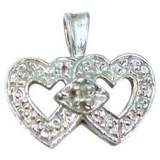 10k White Gold Diamond Double Hearts Pendant