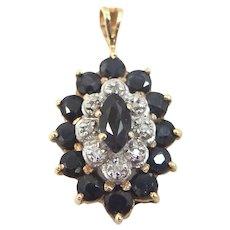 14k Gold Sapphires and Diamonds Pendant