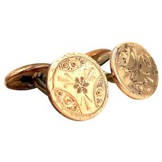 Victorian Gold Filled Finely Etched Cufflinks Cuff Links