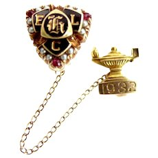 14k Solid Gold Rubies & Seed Pearls ELC 1932 Fraternity Pin