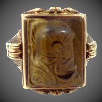Late Victorian 10k Gold Carved Tiger Eye Cameo Lady's Ring