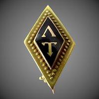 1910 Lambda Tau 14k Gold Enamel Fraternity Pin