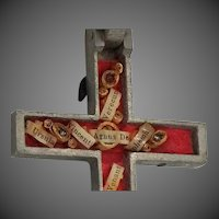 Large Reliquary Crucifix with Inlaid Wood Pectoral Cross