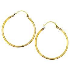 """14k SOLID Gold 1 1/8"""" Long Hoop Earrings"""