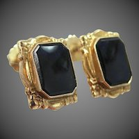 10k Gold Onyx Retro Screw Back Earrings