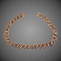 "Trifari ""Alfred Philippe"" Baguettes & Gold Tone Metal Necklace Circa 1950's"