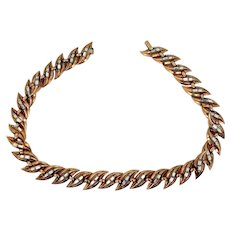 "Trifari ""Alfred Philippe"" Baguettes & Gold Tone Metal Necklace Circa 1950's"