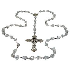 1920's Sterling Silver & Faceted Crystals Rosary w/Pierced Crucifix