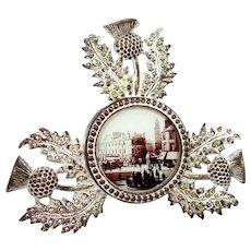 Antique The Cross & Laigh Kirk Kilmarnock Thistle Silver Tone Metal Souvenir Frame Scotland