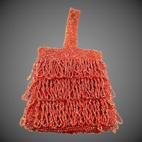 1920's Orange Glass Beaded Flapper Purse