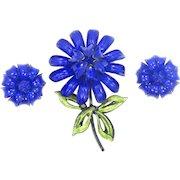 CORO Cobalt Blue Enamel Flower Brooch & Matching Earrings