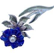 Coro Orchid Enamel and Rhinestone Pin