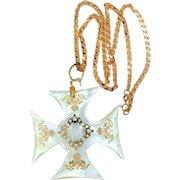 Sterling Vermeil Mother of Pearl Maltese Cross & Chain