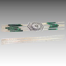 Relios Carlisle Jewelry Malachite Liquid Silver Sterling Necklace Pollack