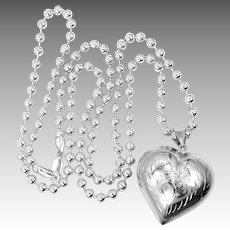 Heavy & Chunky Sterling Silver Beaded Necklace and HUGE Puffy Heart Necklace