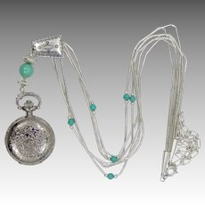 Relios Carlisle Jewelry Liquid Silver Sterling Pendant Watch Necklace Pollack