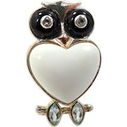 Figural Owl Sterling Silver Agate & Topaz Ring