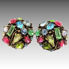 Hollycraft Copr. 1953 Multi Colored Clip on Earrings