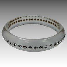 1960's MOD Clear Lucite & Rhinestones Bangle Bracelet