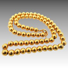 """6mm Beaded Links Gold Filled 16 1/2"""" Chain Necklace, Gold Choker, Ball Bead, Edwardian Necklace, Vintage Gold Chain Necklace"""