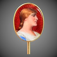 18K Gold Enamel Victorian Stick Pin
