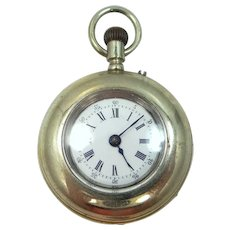 Vintage Silver Pocket Watch with Porcelain Dial