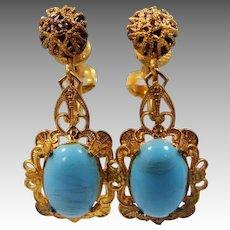 Czechoslovakia Gilt Filigree Brass and Blue Glass Dangle Earrings