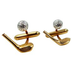 REDUCED - Cute Swank Gold and Silver Tone Metal GOLF Cuff Links
