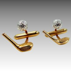 Cute Swank Gold and Silver Tone Metal GOLF Cuff Links