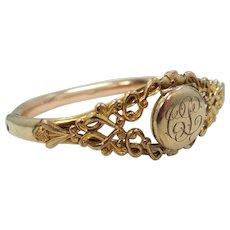 Victorian Gold Filled Locket Bangle Bracelet
