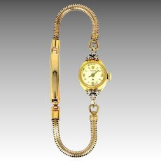 Hamilton 10k Gold and Diamonds Lady's Watch Working Condition
