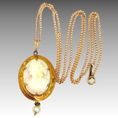 Antique 14k Gold Carved Coral Cameo Necklace with Pearl