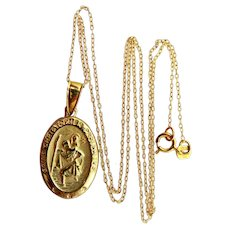 Old St. Christopher Protect Us Medal and Chain