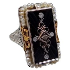 14K White Gold Art Deco Diamond & Onyx Filigree Ring with Seed Pearls