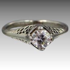 1930's Joseph Esposito 14k G. E. Filigree Ring With Box