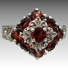 Gorgeous Sterling Silver and Genuine Garnets Deco Style Ring